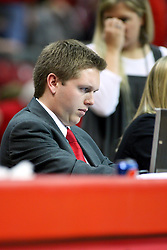 19 November 2011:  Media Relations Assistant John Twork during an NCAA mens basketball game between the Lipscomb Bison and the Illinois State Redbirds in Redbird Arena, Normal IL