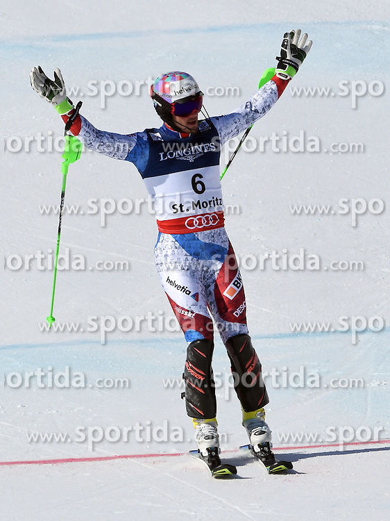 13.02.2017, St. Moritz, SUI, FIS Weltmeisterschaften Ski Alpin, St. Moritz 2017, alpine Kombination, Herren, Slalom, im Bild Luca Aerni (SUI, Herren Alpine Kombination Weltmeister und Goldmedaille) // men&rsquo;s Alpine Combined world Champion and Gold medalist Luca Aerni of Switzerland reacts after his run of Slalom competition for the men's Alpine combination of the FIS Ski World Championships 2017. St. Moritz, Switzerland on 2017/02/13. EXPA Pictures &copy; 2017, PhotoCredit: EXPA/ Sammy Minkoff<br /> <br /> *****ATTENTION - OUT of GER*****