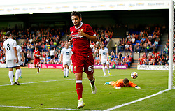 Pedro Chirivella of Liverpool celebrates after scoring his sides third goal - Mandatory by-line: Matt McNulty/JMP - 12/07/2017 - FOOTBALL - Prenton Park - Birkenhead, England - Tranmere Rovers v Liverpool - Pre-season friendly