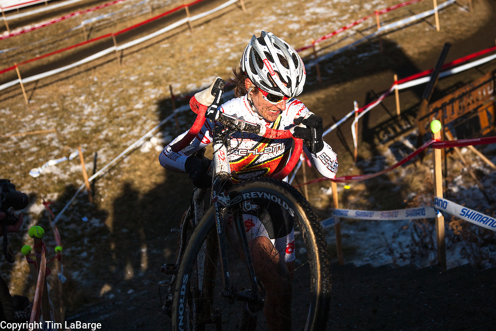 Amy Dombroski took third place in the Elite Women division at the US Cyclocross Championship in Bend, Oregon in December 2009. (Tim LaBarge)
