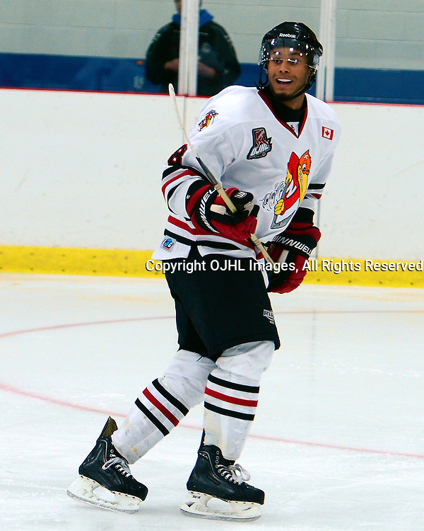 GEORGETOWN,ON-Sep14: Ontario Junior Hockey League Game Action between the Newmarket Hurricanes and the Georgetown Raiders, Shaquille Hickey #28, of the Newmarkett Hurricanes Hockey Club<br /> (Photo by Graeme Reid / OJHL Images)