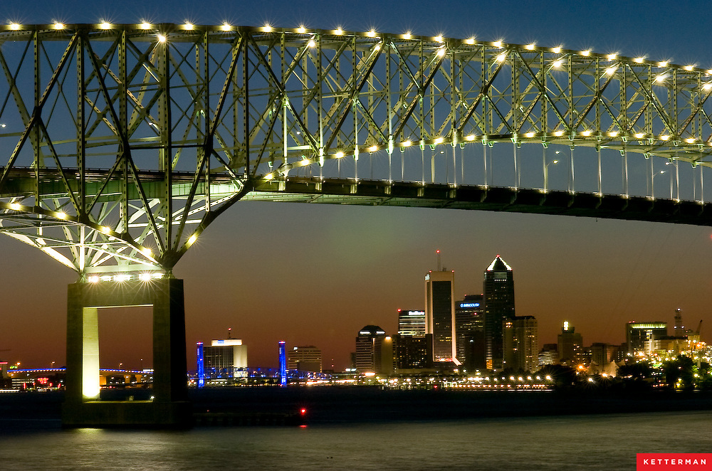 The Hart Bridge and downtown Jacksonville, Florida as seen along the St. John's River.