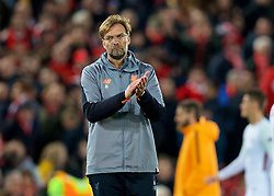 LIVERPOOL, ENGLAND - Tuesday, April 24, 2018: Liverpool's manager Jürgen Klopp after the 5-2 victory over AS Roma during the UEFA Champions League Semi-Final 1st Leg match between Liverpool FC and AS Roma at Anfield. (Pic by David Rawcliffe/Propaganda)