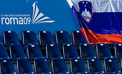 Slovenian flag during the 13th FINA World Championships Roma 2009, on July 29, 2009, at the Stadio del Nuoto,  in Foro Italico, Rome, Italy. (Photo by Vid Ponikvar / Sportida)