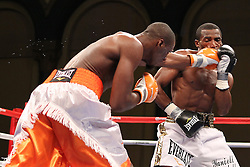 July 9, 2011; Atlantic City, NJ; USA; Paul Williams (orange trunks) and Erislandy Lara during their 12 round bout at Boardwalk Hall in Atlantic City, NJ.