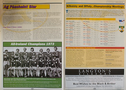 All Ireland Senior Hurling Championship - Final, .13.09.1998, 09.13.1998, 13th September 1998, .13091998AISHCF,.Senior Kilkenny v Offaly, .Minor Kilkenny v Cork,.Offaly 2-16, Kilkenny 1-13,.Limerick All Ireland Championships 1973, Back row, Richie Bennis, Liam O'Donoghue, Jim O'Brien, Pat Hartigan, Joe McKenna, Eamonn Cregan, Willie Moore, Eamon Rea, Front row, Sean Foley, Mossy Dowling, Bernie Hartigan, Eamonn Grimes captain, Phil Bennis, Frankie Nolan, Seamus Horgan, ..Langton's Kilkenny,