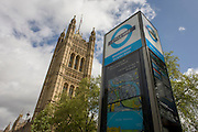 A Cycle Hire post located under the Palace of Westminster in central London.