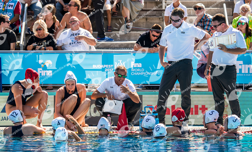 Team USA <br /> USA (white cap) -  ESP (blue cap)<br /> Preliminary Round Water Polo Women<br /> Day05  18/07/2017 <br /> XVII FINA World Championships Aquatics<br /> Alfred Hajos Complex Margaret Island  <br /> Budapest Hungary <br /> Photo @ Deepbluemedia/Insidefoto
