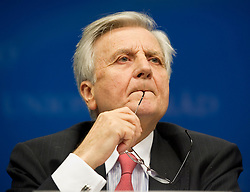 Jean-Claude Trichet, president of the European Central Bank, listens during a news conference following an emergency meeting of euro zone finance ministers in Brussels, on Sunday, May 2, 2010.Greece accepted an unprecedented bailout from the European Union and International Monetary Fund worth more than 110 billion euros ($146 billion). (Photo © Jock Fistick)