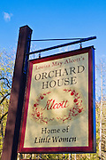 Sign at Louisa May Alcott's Orchard House (Home of Little Women), Concord, Massachusetts