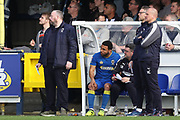 AFC Wimbledon striker Andy Barcham (17) receiving instructions before coming on during the EFL Sky Bet League 1 match between AFC Wimbledon and Scunthorpe United at the Cherry Red Records Stadium, Kingston, England on 7 April 2018. Picture by Matthew Redman.