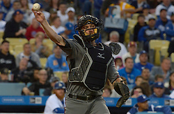 April 14, 2017 - Los Angeles, California, U.S. - Arizona Diamondbacks catcher Jeff Mathis throws out Los Angeles Dodgers' Andrew Toles (not pictured) in the first inning of a Major League baseball game at Dodger Stadium on Friday, April 14, 2017 in Los Angeles. (Photo by Keith Birmingham, Pasadena Star-News/SCNG) (Credit Image: © San Gabriel Valley Tribune via ZUMA Wire)