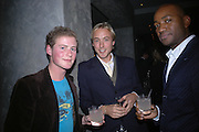 Guy Pelly, Sam Pelly and Roger Michael. The Tatler Little Black book party in association with Chopard. Aviva loungs, BAGLIONE HOTEL. HYDE PARK GATE. LONDON SW7. 9 November 2005. ONE TIME USE ONLY - DO NOT ARCHIVE © Copyright Photograph by Dafydd Jones 66 Stockwell Park Rd. London SW9 0DA Tel 020 7733 0108 www.dafjones.com