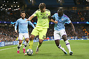 Dinamo Zagreb forward Bruno Petkovic (21) takes on Manchester City defender Benjamin Mendy (22) during the Champions League match between Manchester City and Dinamo Zagreb at the Etihad Stadium, Manchester, England on 1 October 2019.