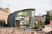 Kiasma Museum of Contemporary Art in front of demolished buildings.