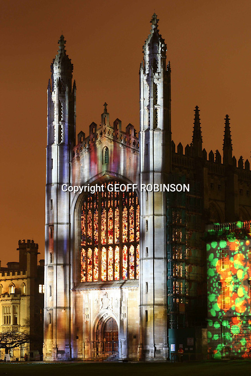 PIC BY GEOFF ROBINSON PHOTOGRAPHY 07976 880732...PIC SHOWS KINGS COLLEGE CHAPEL CAMBRIDGE...Cambridge University was illuminated with images of galaxies, fruit flies and plant cells during during a spectacular light show to celebrate the end of the institution's 800th birthday year...The pictures showing how research at the university is transforming the future were projected onto its most famous buildings, including the iconic King's College Chapel and Regent House...The colourful display, entitled Transforming Tomorrow, was inspired by the life-changing research and academic work taking place at Cambridge...It included a video installation with spinning and moving pictures examining the interaction between art and science, which was projected onto the Senate House...SEE COPY CATCHLINE Cam Uni light show