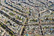 Nederland, Noord-Holland, Amsterdam, 09-04-2014;<br /> Binnenstad en grachtengordel, Leidsegracht en Leidsestraat doorsnijdt de Prinsengracht, Keizergracht en Herengracht. Linksboven het Paleis op de Dam, midden in beeld kerk De Krijtberg aan het Singel en het Koningsplein.<br /> Rechtsboven de Munttoren en de Amstel.<br /> Detailed view on center and canals of Amsterdam, the river Amstel top right.<br /> luchtfoto (toeslag op standard tarieven);<br /> aerial photo (additional fee required);<br /> copyright foto/photo Siebe Swart