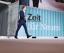 "01.07.2017, Design Center, Linz, AUT, ÖVP, 38. ordentlicher Bundesparteitag, mit Wahl von Bundesminister Kurz zum neuen Bundesparteiobmann, unter dem Motto ""Zeit für Neues - Zusammen neue Wege gehen"". im Bild Außenminister und designierter ÖVP-Chef Sebastian Kurz // Austrian Foreign Minister Sebastian Kurz during political convention of the Austrian People' s Party with election of Sebastian Kurz as the new party leader at Design Centre in Linz, Austria on 2017/07/01. EXPA Pictures © 2017, PhotoCredit: EXPA/ Michael Gruber"