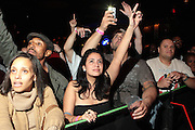 October 27, 2012-New York, NY: Audience at BlackStar performance held at the House of Blues on October 27, 2012 in Atlantic City, New Jersey. Black Star arose from the underground movement of the late 1990s, which was in large part due to Rawkus Records, an independent record label stationed in New York City. They released one album, Mos Def & Talib Kweli Are Black Star on August 26, 1998. (Terrence Jennings)
