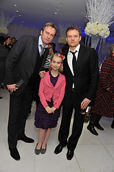Left to right, PHILIP GLENISTER, his daughter MILLIE and MARC WARREN at the pre party for the English National Ballet's Christmas performance of The Nutcracker held at the St.Martin's Lane Hotel, St.Martin's Lane, London on 14th December 2011.