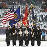 December 09, 2017:  The colors are presented by The Navy Midshipmen in the snow prior to the 118th edition of The Army-Navy game between The Army Black Knights and The Navy Midshipmen at Lincoln Financial Field in Philadelphia, PA.  Mandatory Credit: Kostas Lymperopoulos/CSM, (Credit Image: © Kostas Lymperopoulos/Cal Sport Media)