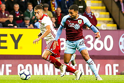 Aaron Lennon of Burnley takes on Konstantinos Tsimikas of Olympiakos - Mandatory by-line: Robbie Stephenson/JMP - 30/08/2018 - FOOTBALL - Turf Moor - Burnley, England - Burnley v Olympiakos - UEFA Europa League Play-offs second leg