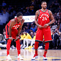 01 November 2017: Toronto Raptors guard DeMar DeRozan (10) rests next to Toronto Raptors forward Norman Powell (24) during the Denver Nuggets 129-111 victory over the Toronto Raptors, at the Pepsi Center, Denver, Colorado, USA.
