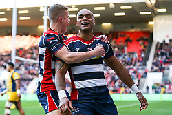 Tom Varndell of Bristol Rugby celebrates scoring a try - Rogan Thomson/JMP - 26/12/2016 - RUGBY UNION - Ashton Gate Stadium - Bristol, England - Bristol Rugby v Worcester Warriors - Aviva Premiership Boxing Day Clash.