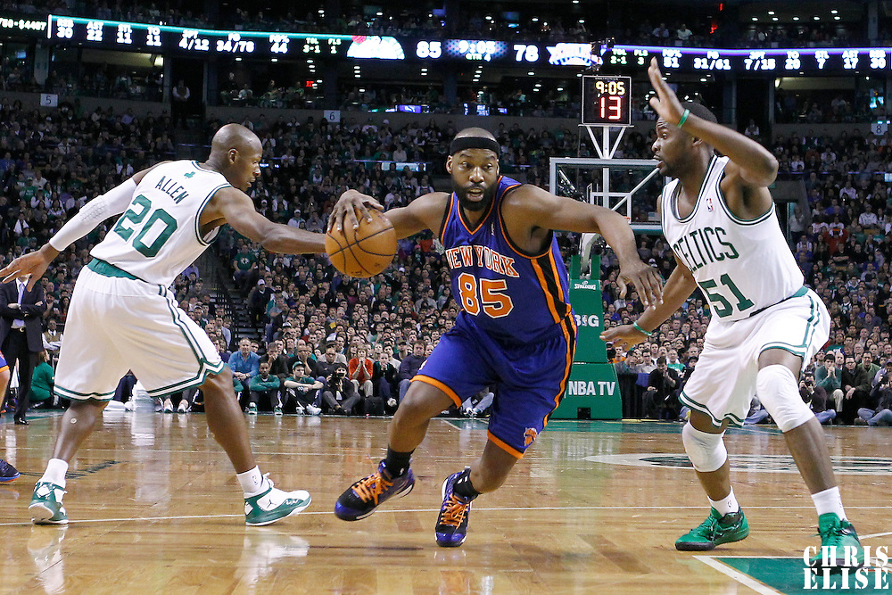 04 March 2012: New York Knicks point guard Baron Davis (85) drives past Boston Celtics point guard Keyon Dooling (51) during the Boston Celtics 115-111 (OT) victory over the New York Knicks at the TD Garden, Boston, Massachusetts, USA.
