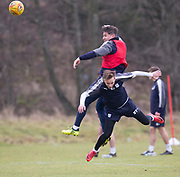 Dundee's Josh Meekings outjumps Jack Lambert during Dundee FC training at the Michelin Grounds, Dundee<br /> <br /> <br />  - &copy; David Young - www.davidyoungphoto.co.uk - email: davidyoungphoto@gmail.com