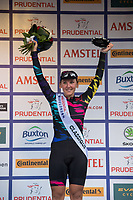 Germany's Lisa Brennauer of Canyon Sram Racing Team celebrates winning third place on the podium at Prudential RideLondon Classique 29/07/2017<br /> <br /> Photo: Tom Lovelock/Silverhub for Prudential RideLondon<br /> <br /> Prudential RideLondon is the world&rsquo;s greatest festival of cycling, involving 100,000+ cyclists &ndash; from Olympic champions to a free family fun ride - riding in events over closed roads in London and Surrey over the weekend of 28th to 30th July 2017. <br /> <br /> See www.PrudentialRideLondon.co.uk for more.<br /> <br /> For further information: media@londonmarathonevents.co.uk