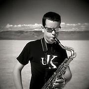 saxophone, tenor saxophone, desert, jazz, adolescent