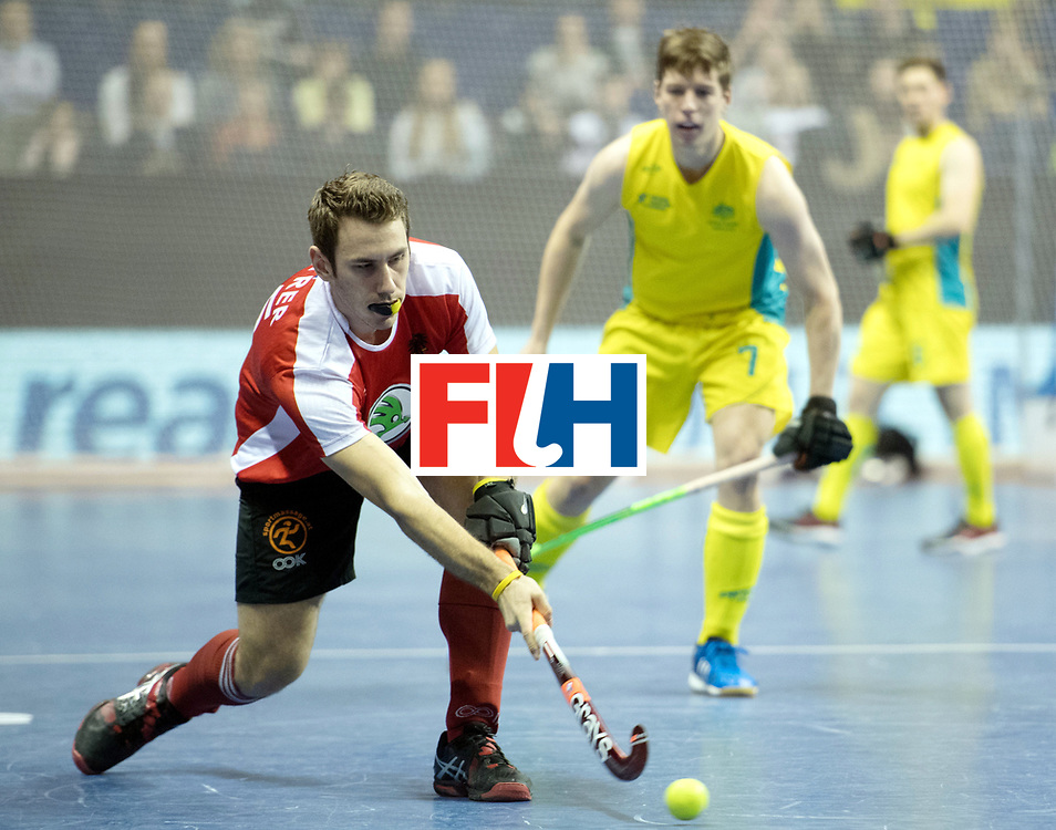 BERLIN - Indoor Hockey World Cup<br /> SF2 Australia - Austria<br /> foto: Florian Steyrer<br /> WORLDSPORTPICS COPYRIGHT FRANK UIJLENBROEK