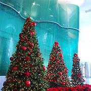 Borealis Sculpture With Christmas / Holiday Tree<br /> Inside the Renaissance Center is sculptor Danny Lane's Borealis. Around the holiday's, GM adds some holiday flare. Borealis comprises two enormous walls of undulating glass that measure 47 and 50 feet long, and weigh nearly 50,000 pounds each.