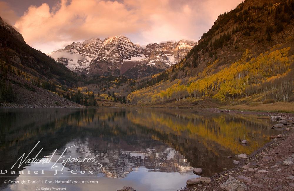 Maroon Lake in the Maroon Bells Snowmass Wilderness near Aspen, Colorado.