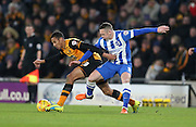 Brighton central midfielder, Andrew Crofts (8) tackles during the Sky Bet Championship match between Hull City and Brighton and Hove Albion at the KC Stadium, Kingston upon Hull, England on 16 February 2016.