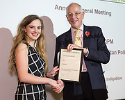 Digby Nelson presenting the John Sunley prize to Ailsa Bridge. The Howard League for Penal Reform 'Policing the community' conference and Community Awards 2017. The King's Fund, London, 8 November 2017