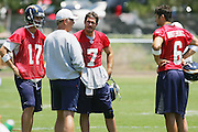 SAN DIEGO - JUNE 10:  San Diego Chargers quarterbacks Philip Rivers #17, free agent acquisition A.J. Feeley #7, and third round draft pick Charlie Whitehurst #6 talk to a coach during minicamp at the San Diego Chargers Park practice field on June 10, 2006 in San Diego, CA. ©Paul Anthony Spinelli *** Local Caption *** Philip Rivers;A.J. Feeley;Charlie Whitehurst