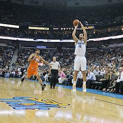 08 April 2009: New Orleans Hornets forward Peja Stojakovic (16) shoots a three pointer over Phoenix Suns forward Jared Dudley (3) during a NBA game between the New Orleans Hornets and the Phoenix Suns at the New Orleans Arena in New Orleans, Louisiana.