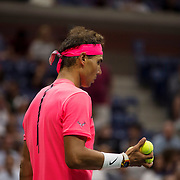 August 29, 2017 - New York, NY : The Spanish tennis player Rafael Nadal, in pink, and Serbian player Dušan Lajović, not visible, face off in Arthur Ashe Stadium on the second day of the U.S. Open, at the USTA Billie Jean King National Tennis Center in Queens, New York, on Tuesday afternoon. <br /> CREDIT : Karsten Moran for The New York Times