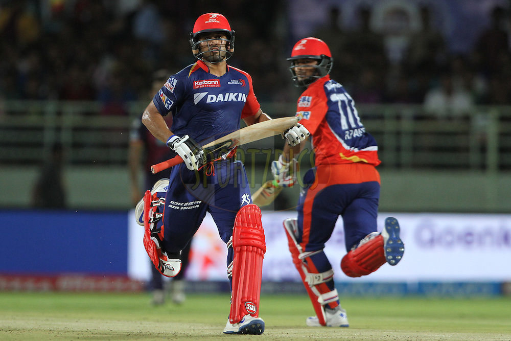 Karun Nair of Delhi Daredevils and Rishabh Pant of Delhi Daredevils running between the wicket during match 49 of the Vivo IPL 2016 (Indian Premier League) between Rising Pune Supergiants and the Delhi Daredevils held at the ACA-VDCA Stadium, Visakhapatnam on the 17th May 2016<br /> <br /> Photo by Deepak Malik / IPL/ SPORTZPICS