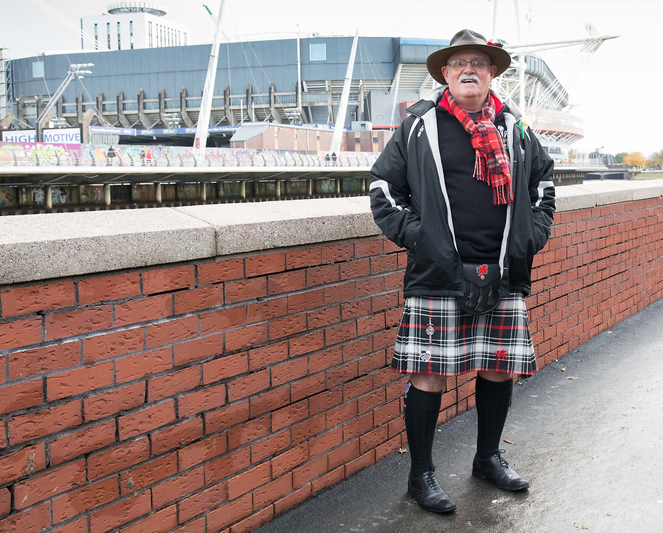 A Wales fan outside the stadium<br /> <br /> Photographer Simon King/Replay Images<br /> <br /> Under Armour Series - Wales v Australia - Saturday 10th November 2018 - Principality Stadium - Cardiff<br /> <br /> World Copyright © Replay Images . All rights reserved. info@replayimages.co.uk - http://replayimages.co.uk