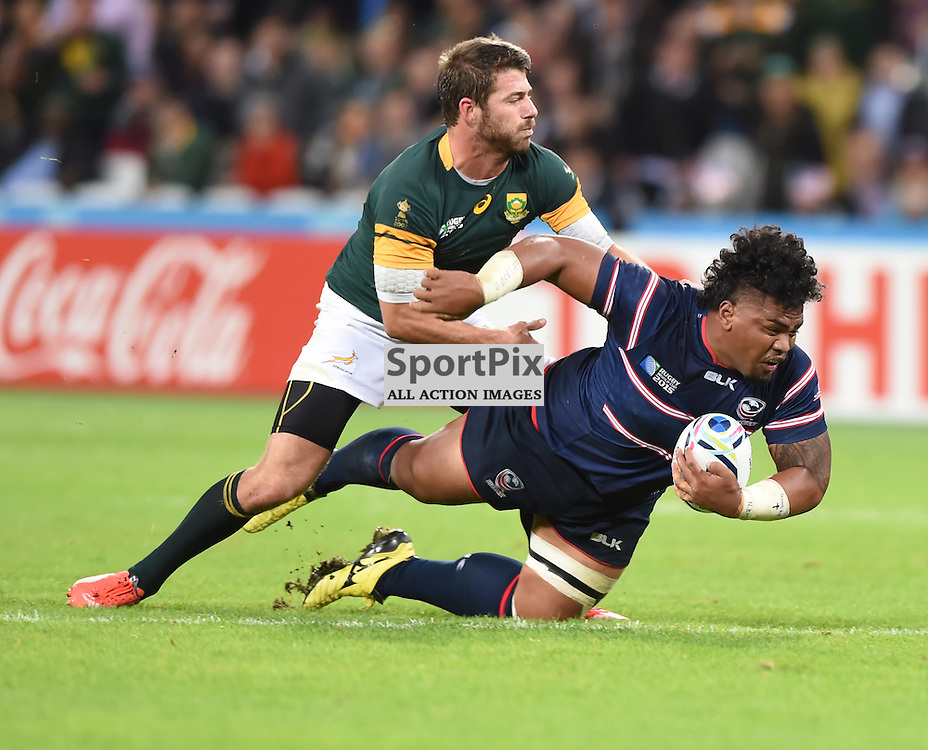 Joseph Taufete'e is tackled as USA attempt to put some points on the board late in the game (c) Simon Kimber | SportPix.org.uk