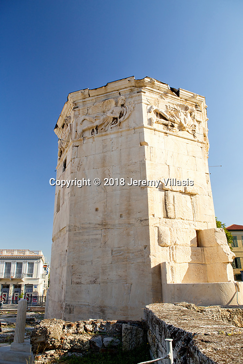 The Tower of the Winds, also called the Aerides or the Horologion of Andronikos of Kyrrhos, is an octagonal tower located east of the Roman Agora in Athens, Greece constructed during the Hellenistic Period, probably during the end of the 2nd-century BC.