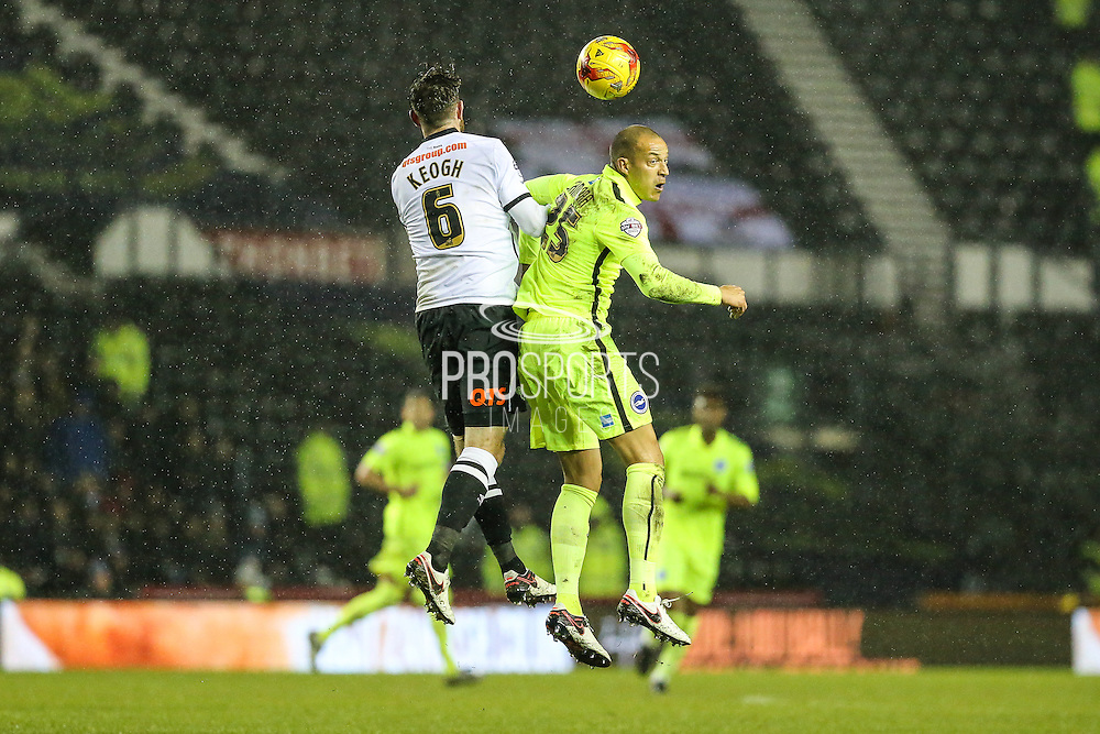 Brighton's Bobby Zamora duels with Derby County's Richard Keogh during the Sky Bet Championship match between Derby County and Brighton and Hove Albion at the iPro Stadium, Derby, England on 12 December 2015. Photo by Shane Healey.