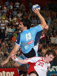 David Spiler of Slovenia and Csaba Szucs of Slovakia at  handball game between men national teams of Slovenia and Slovakia, first qualification game for the World Chamionship 2009, on June 7, 2008, in Arena Zlatorog, Celje, Slovenija. Result: 33 : 33. (Photo by Vid Ponikvar / Sportal Images)