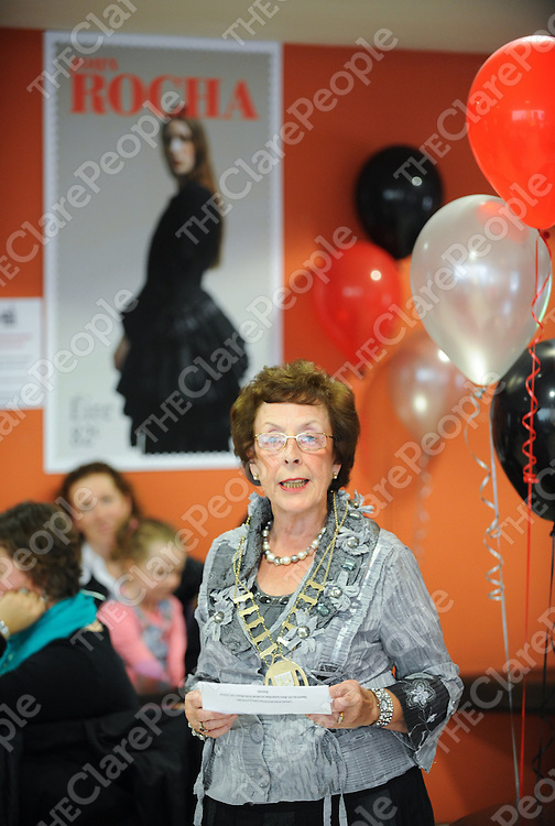 Acting Mayor of Ennis Mary Coote Ryan speaking at the launch of Ennis Fashion Fortnight at Glor, Ennis, Co. Clare.