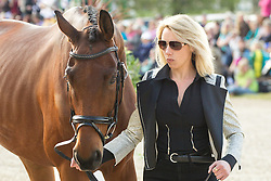 Megan Heath (NZL) leads St. Daniel for the vet's inspection during the trot up at the 2013 Mitsubishi Motors Badminton Horse Trials. Thursday 02  May  2013.  Badminton, Gloucs, UK..Photo by: Mark Chappell / i-Images