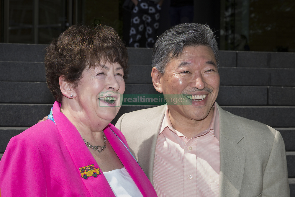 May 9, 2017 - Seattle, Washington, United States - Seattle, Washington: State Senators BOB HASEGAWA and MARALYN CHASE pose at the Bob Hasegawa for Seattle mayor campaign announcement. At the press conference, the senator announced his candidacy for Mayor of Seattle on the steps of Wells Fargo Center. A longtime labor and social justice activist from Seattle, the senator has represented the 11th Legislative District since January 2013. (Credit Image: © Paul Gordon via ZUMA Wire)
