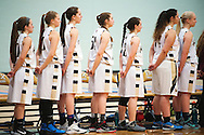 Essex listens to the National Anthem during the girls basketball game between the St. Johnsbury Hilltoppers and the Essex Hornets at Essex high school on Tuesday night January 5, 2016 in Essex. (BRIAN JENKINS/for the FREE PRESS)